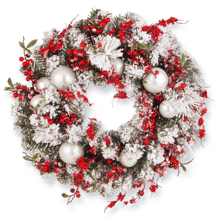 Features: -Flocked evergreen branch tips. -Trimmed with red berries and ball ornaments. -Indoor or covered outdoor use. --
