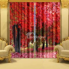 Gorgeous 3D Maple Tree Printing Polyester Blackout Curtain on sale, Buy Retail Price 3D Scenery Curtains at Beddinginn.com