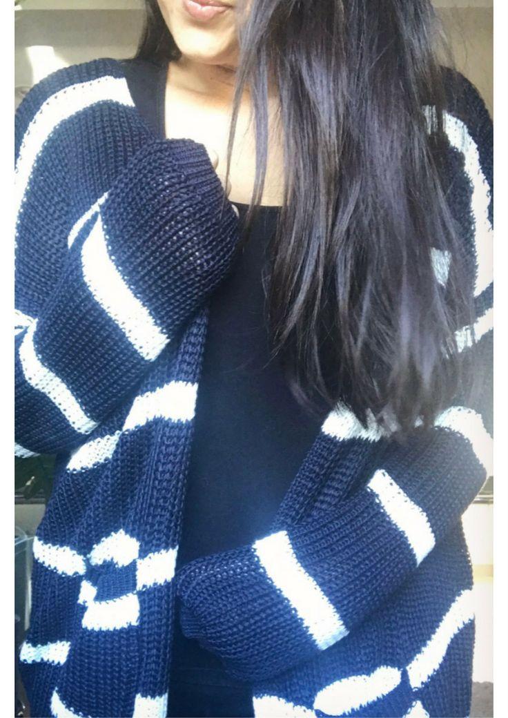 Stripe Knit Cardi - Navy
