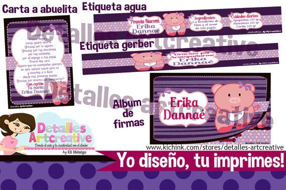 Kit Baby Shower Imprimible Cerdita por Detallesartcreative en Etsy