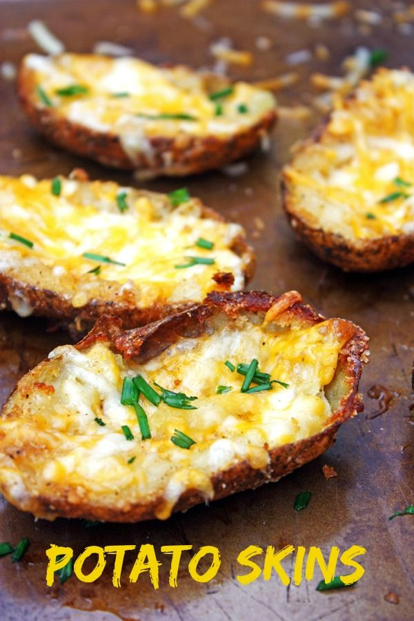 Potato Skins ~ crispy baked potatoes filled with cheese and spices.