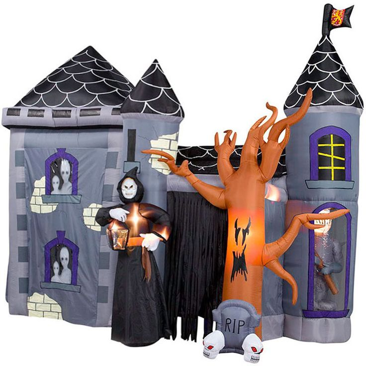 giant inflatable halloween haunted castle stands 12 tall - Blow Up Halloween Decorations