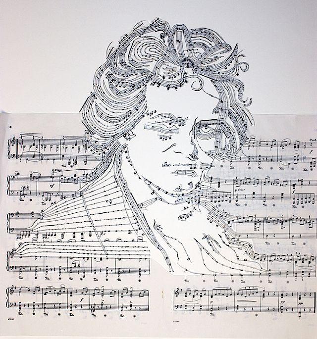 Sheet Music Collage Beethoven by Erika Iris Simmons: Iris Simmons, Music Note, Erika Iris, Art, Sheet Music, Portraits, Music Collage, Music Sheet, Marching Bands