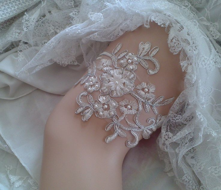 Ivory Silver Wedding Garter Bridal Lace Flower Handmade With Sewing Sequins Beads Pearl