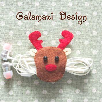 Handmade Felt Christmas Reindeer Earphone Cord Organizer Felt Cable Keeper…