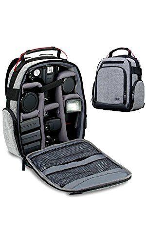 USA GEAR Mochila con accesorio separadores personalizables, resistente a las condiciones meteorológicas. Parte inferior, cómodo soporte de la espalda para cámara digital Canon EOS T5/T6–Nikon D3300/D3400SLRS y más.