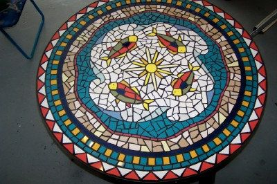 Mosaic Tile Table with Waves and Fish by JandineenArtworks on Etsy,