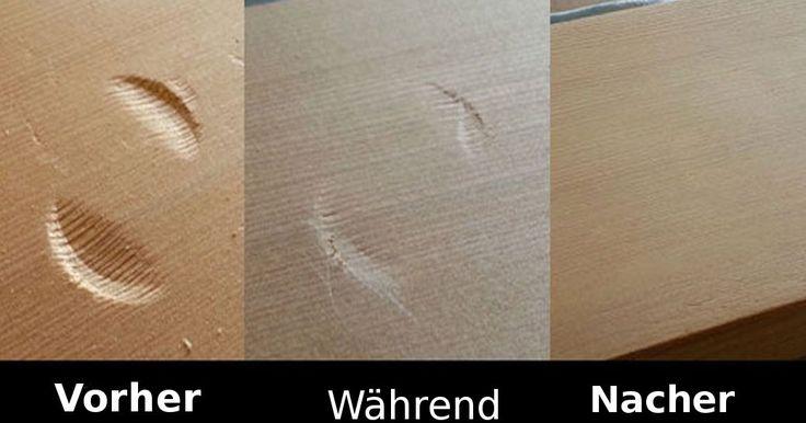 So leicht bekommst du jede Schramme weg! Aber Vorsicht, manches Holz hellt durch Hitze auf!