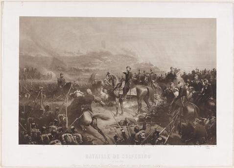"""Photographie ancienne et annotée par Yvon du tableau """"La Bataille de Solférino, 24 juin 1859"""" Yvon Adolphe (1817-1893) (d'après)"""