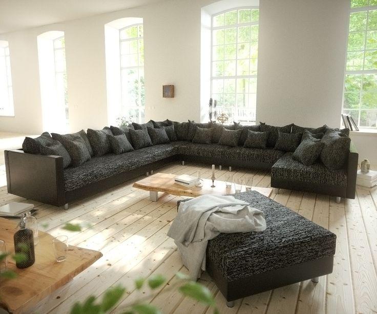 DELIFE Wohnlandschaft Clovis XXL Schwarz Hocker Ottomane Links modular, Design Wohnlandschaften, Couch Loft, Modulsofa, modular 10724-10211-0