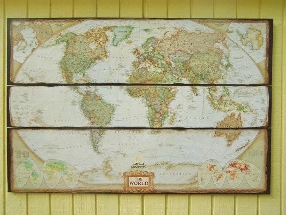 World Map Art. World Map Wall Decor. Large National