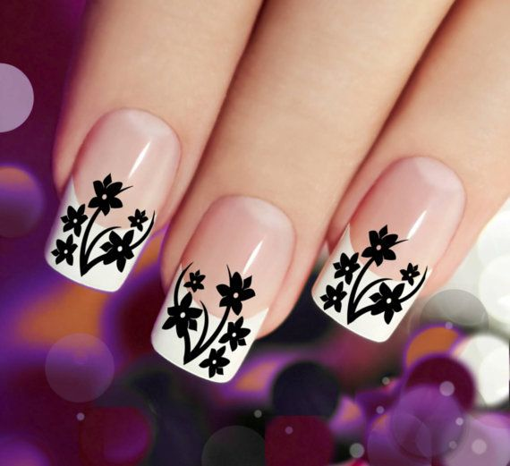 38 Black DAISIES / Cherry Blossom Nail Art (DSB) Waterslide Transfer Decals - not Vinyl or Stickers