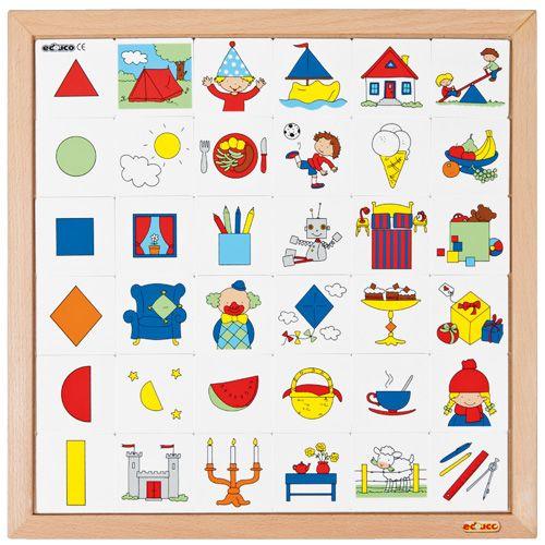 --- vormenrij --- Vind de 6 verschillende geometrische vormen terug in de afbeeldingen op de beeldkaartjes. Leg 6 rijen met vooraan de vorm en erachter de bijpassende beeldkaartjes. Formaat : 40 x 40 cm (l x b). 522 908