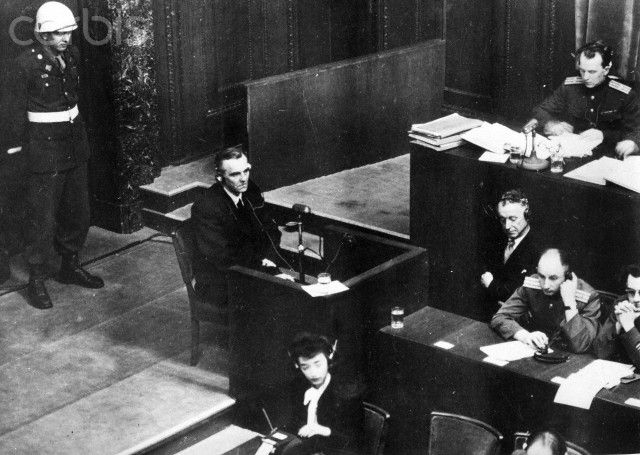 Friedrich Paulus, Field Marshal in World War II and commander of the 6th army in Stalingrad, testifies in the Nuremberg Trials in 1946 in front of the International Military Court of Justice in Nuremberg. Photo: Yevgeny Khaldei