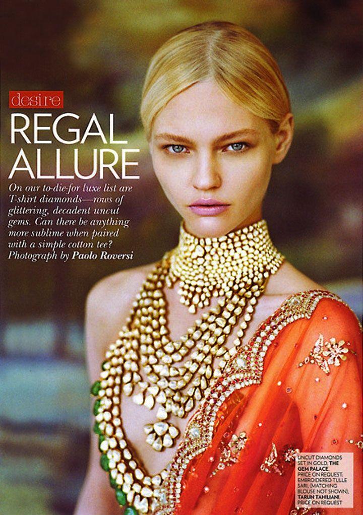 Sasha Pivovarova for Vogue India editorial. Shop for your wedding jewellery with Bridelan - a personal shopper & stylist for weddings. Website www.bridelan.com #Bridelan
