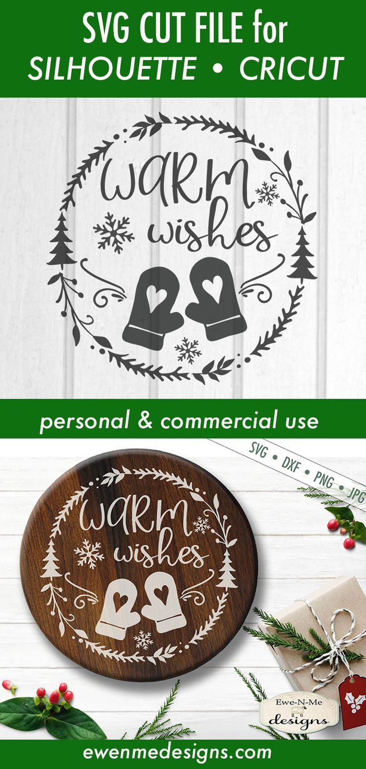 Warm Wishes Mittens Wreath SVG (With images