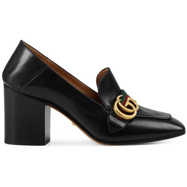 Gucci Leather Mid-Heel Loafer (€745) ❤ liked on Polyvore featuring shoes, loafers, black, leather shoes, gucci loafers, mid heel loafer, black loafers and kohl shoes