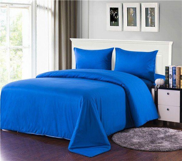 Tache 2-3 Piece 100% Cotton Deep Solid Blue Duvet Cover Set