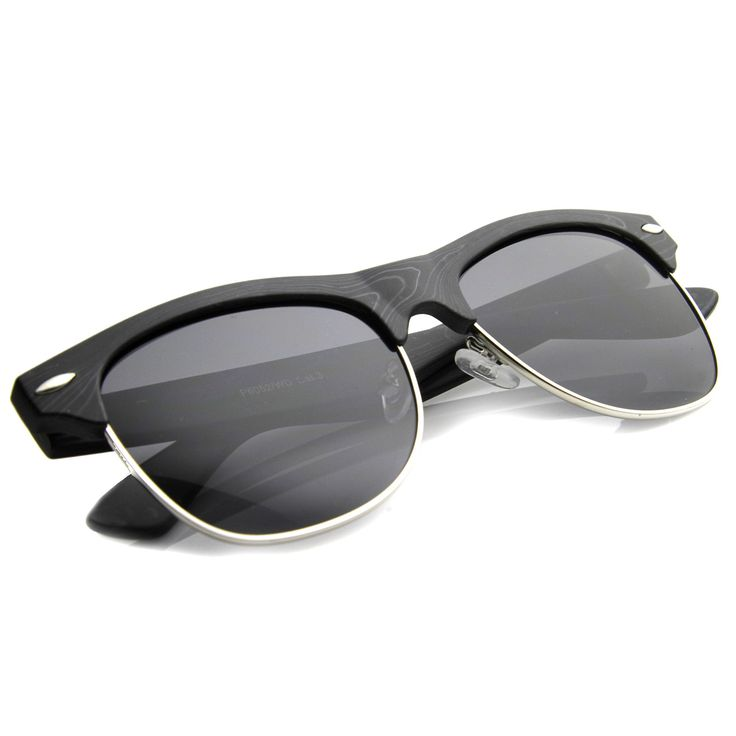 Mens Semi-Rimless Sunglasses With UV400 Protected Composite Lens