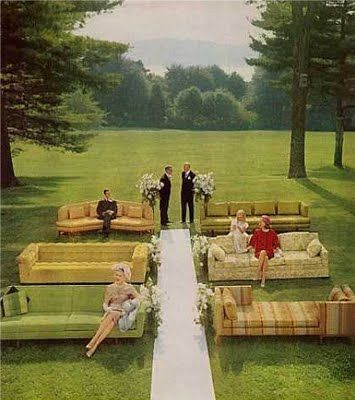 Mad Men inspired seating at your outdoor ceremony.  All Things Wedding: Sofa Seating #wedding #ceremony #seating