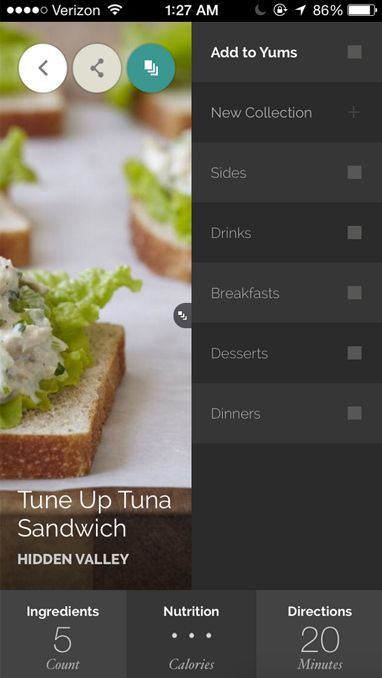 Navigation - Yummly Recipes mobile version
