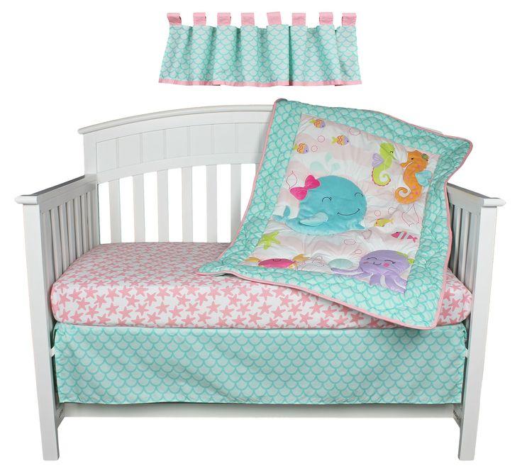 Sea sweeties pink and purple fish 4 piece baby girl crib for Fishing crib bedding