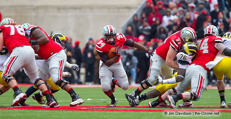Check out Ohio State's Corey Linsley (71) crushing the Michigan defender. Photo by Jim Davidson of TheOzone.net.