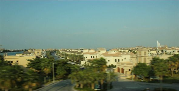 Palm Jumeirah, Dubai ...  burj, burj al arab, day, dubai, houses, icon, landmark, landscape, palm, palm jumeirah, train, tropical, uae