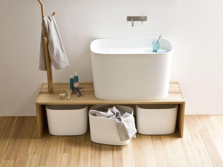 banc salle de bain Rexa design avec paniers de rangement et vasque design                                                                                                                                                     Plus