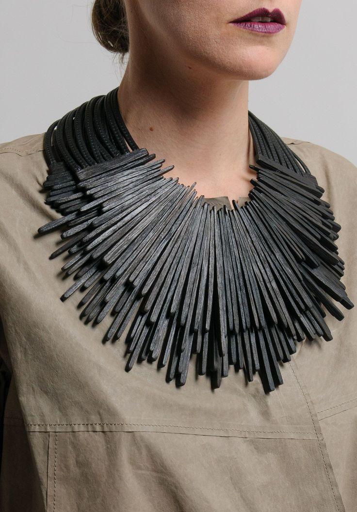 Monies Radial Ebony & Leather Necklace