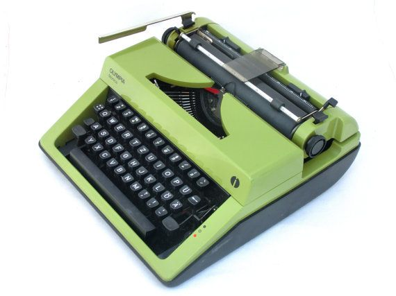 typewriter green / olive manual  - Olympia Monica 70s on Etsy, $169.00