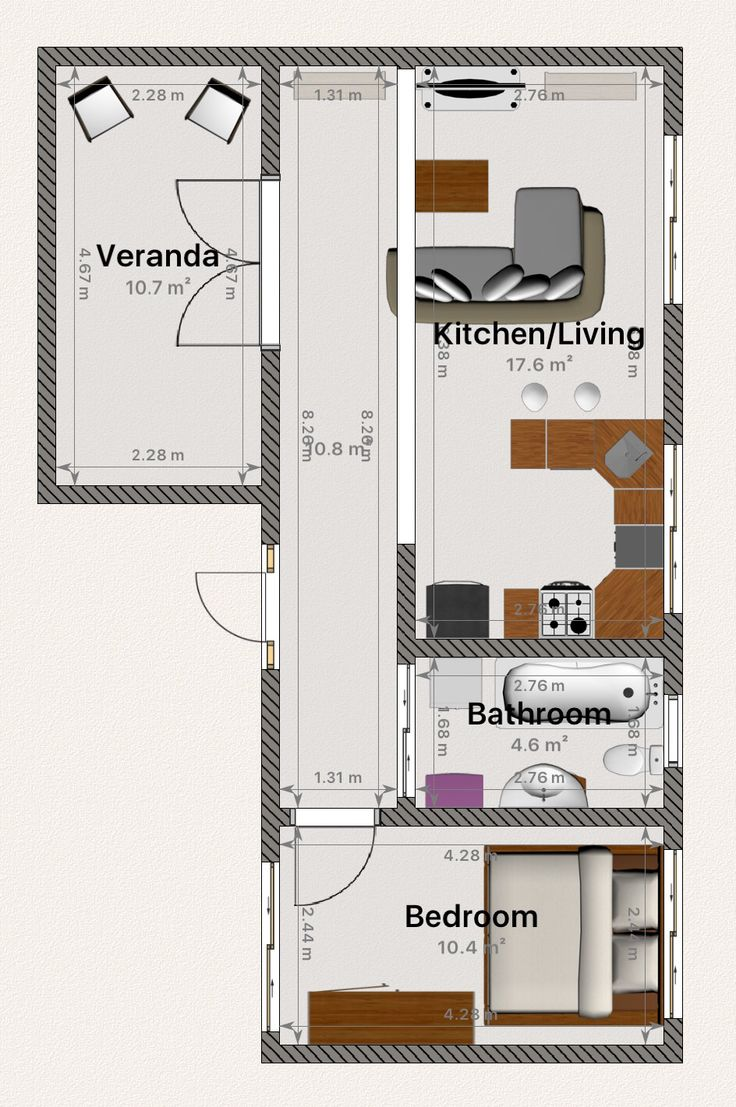 My Dream Tiny House floor plan Complete with French doors