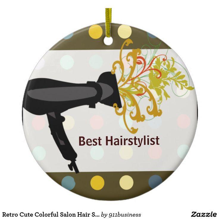 Ornement Rond En Céramique Rétro coiffeur coloré mignon de salon   Zazzle.fr