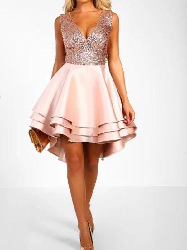 1b479a6fae4f Pink Silver Sequin Cascading Ruffle Pleated High-Low Sparkly Glitter Tutu  Cocktail Mini Dress -