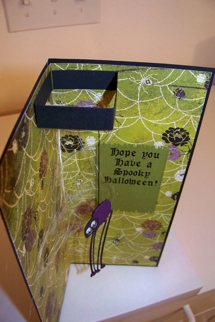 Spooky Spiders pop-out card, inside.  Spider was cut from Stretch your Imagination Cricut cartridge in stretch mode.  I used some angel hair behind the spider and on the front in the tree to look like spider webs.  This was done in a business envelope size.