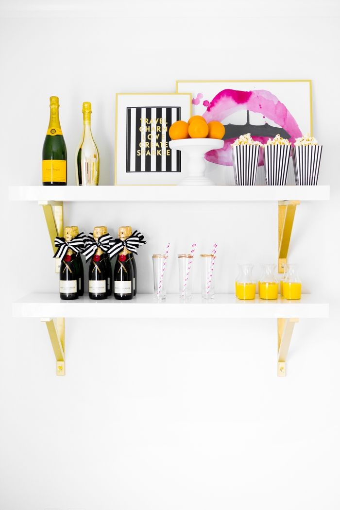 Three Ways to Style a Bar without a Bar Cart #theeverygirlDecor, Style, S'More Bar, S'Mores Bar, Bar Shelves, Wall Shelves, Bar Carts, Carts Theeverygirl, Design Blog