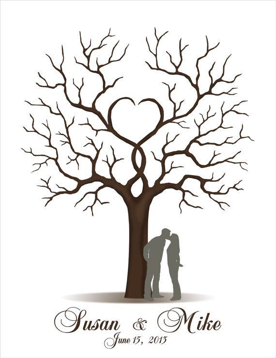 Wedding Guest Book - Printable JPEG - Fingerprint Signature Tree - Custom color, size, silhouette, text and language