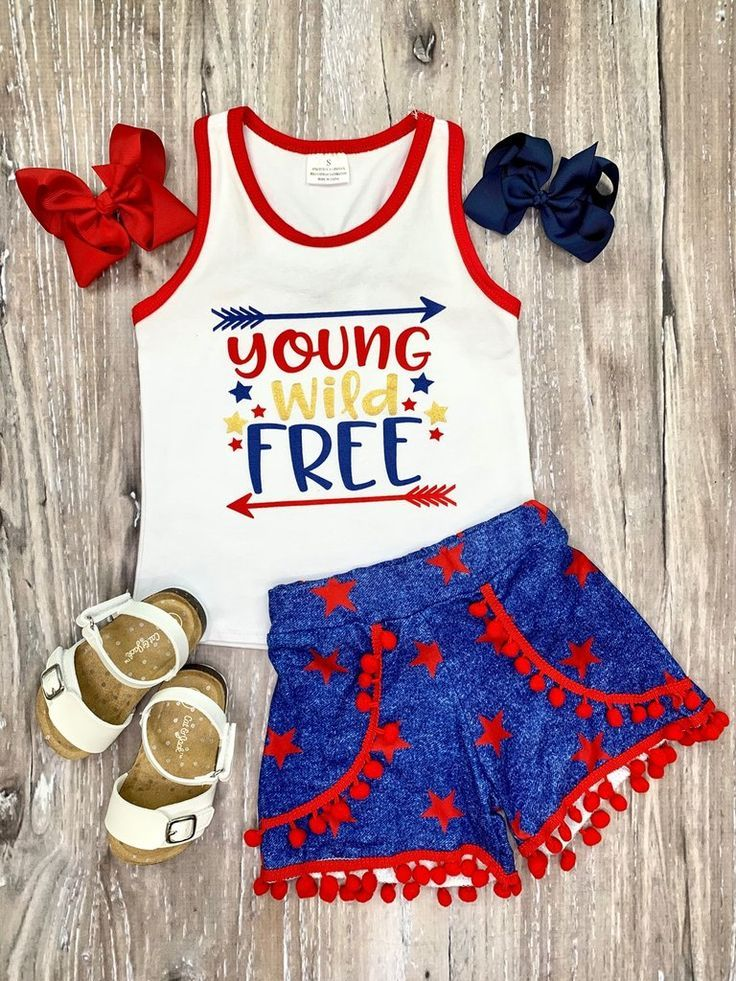Junges, wildes & freies Tank & Pom Shorts Outfit   – Baby ideas