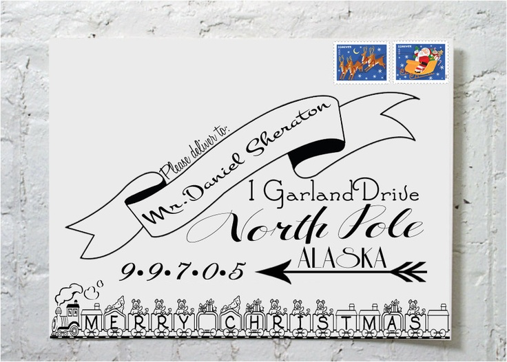 Christmas Card Train Calligraphy Envelope Addressing Via