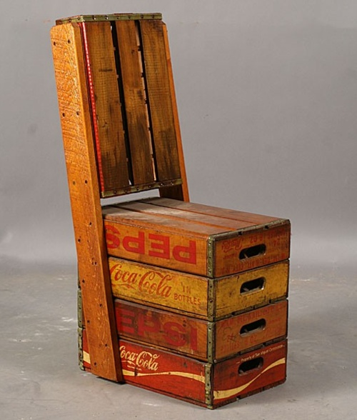 Pepsi coca cola crate chair cola crate pinterest for Wooden soda crate ideas