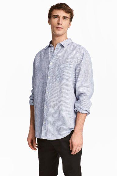 Keten Gömlek Relaxed Fit - Beyaz/Mavi çizgili - Men   H&M TR 1
