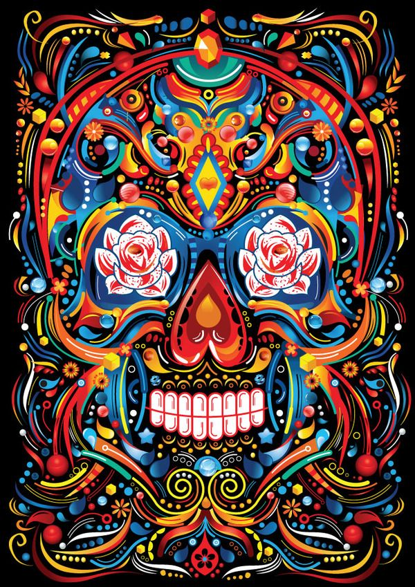 MEXICAN SKULL . HAPPY TILL THE END by FLY DESIGN STUDIO , via Behance