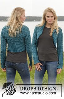 """Knitted DROPS bolero with cables and lace pattern in """"Merino Extra Fine"""". Size: S - XXXL. ~ DROPS Design"""