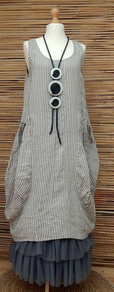 Lagenlook Linen Amazing Striped Long Tunic Dress Stone Mocha Size 12 16 OSFA | eBay