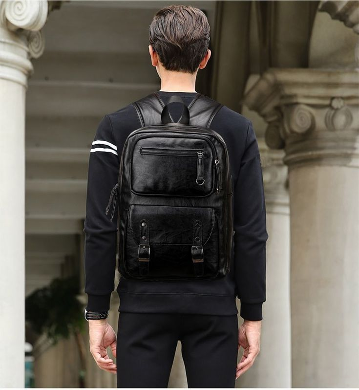 Men Black Patent Leather Laptop Backpack Bookbag Travel Backpack