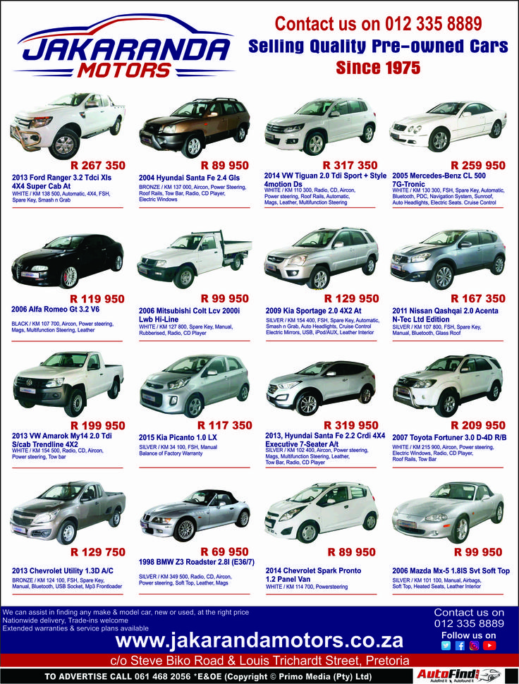 Don't miss out @ #Jakaranda #Motors !! Selling Quality Pre-owned Cars Since 1975. Contact us today on 0123358889 for more information and prices. *Terms and Conditions Apply. #Autofind