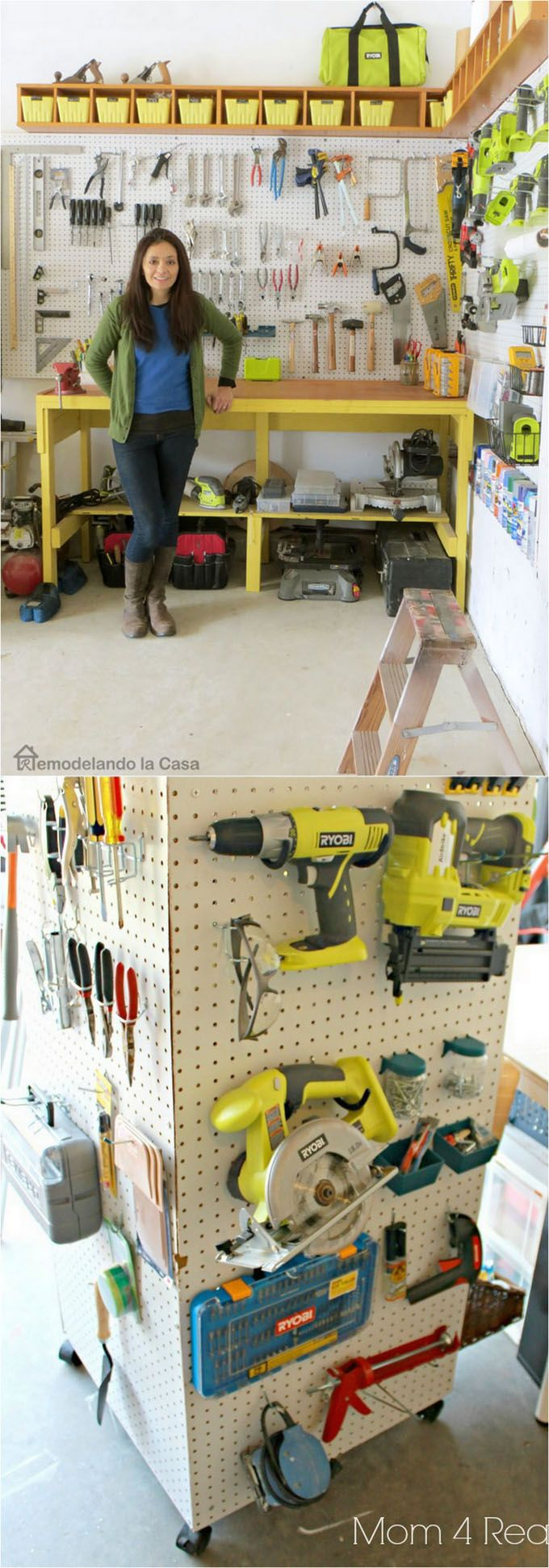 21 great ways to completely organize your workshop or craft room: how to best utilize pegboards, shelving, closet and wall spaces, and much more! - A Piece Of Rainbow