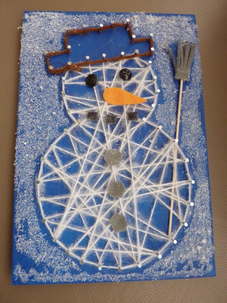 spijkerschilderijtje sneeuwpop