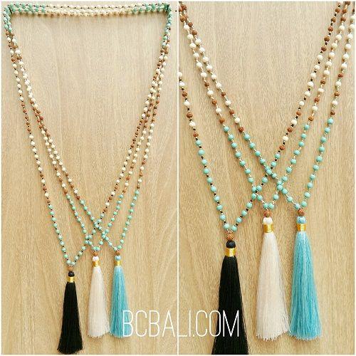 tassels pendant necklaces beads stone rudraksha - tassels pendant necklaces beads stone rudraksha bali