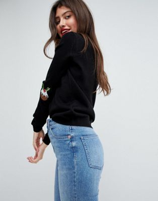 9bd344c5c4729 ASOS Christmas Jumper with Sequin Pudding Elbow Patches | Christmas ...
